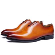 New Handmade Men Tan Color brogue Shoes Men Tan leather formal Shoes