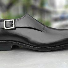 NEW Handmade men's black monk shoes, Formal Shoes men's leather black shoes