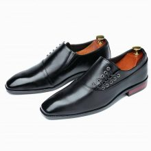 Black Men's Oxford Shoes Premium Quality Leather Derby Toe Lace up Handmade Shoes