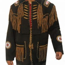 New Handmade Leather Western wear Black/Brown Suede Leather Fringe Jacket