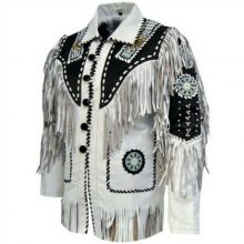 Two Tone Black White Bone Beads Fringes Western Cowboy Suede Real Leather Jacket