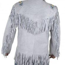 New Handmade White Western Fringes Cowboy Genuine Real Leather Jacket