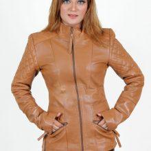 New Handmade Classic Women Bron Prime Handcrafted Premium Quality Leather Lambskin Brown Biker Jacket Fashion