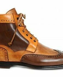 Two Tone Tan Brown Brouging High Ankle Men Lace Up Premium Quality Leather Boots