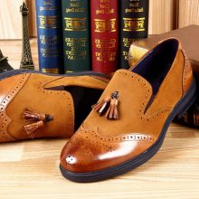Men Brown Wing Tip Brogues Toe Tassles Loafers Suede Leather Shoes