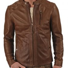 New Handmade Classy Looking Stand Collar Men Biker Leather Design With Long Sleeves Jacket