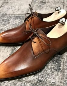 Men's Brown Patina Oxford Derby Lace Up Formal Dress Real Leather Handmade Shoes