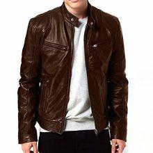 New Handmade Men's Genuine Solid Lambskin Brown Color Leather Biker Jacket