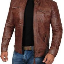 New Handmade Men's Brown Cafe Racer Real Lambskin Leather Distressed Biker Jacket