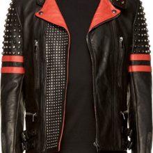 New Men Nikolai Back Red Half Silver Studded, Stripe Biker Leather Jacket