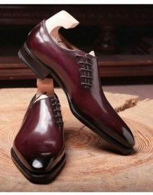 Oxford Men Maroon Derby Pointed Toe Burnished Luxury Dress Leather Formal Shoes