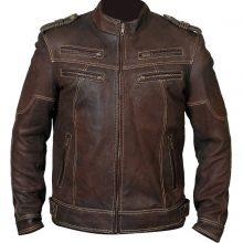 Men Handmade Biker Vintage Motorcycle Distressed Brown Cafe Racer Leather Jacket