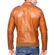 Men Fashion Cowhide Tan Brown Leather Motorcycle Slim fit Biker Bomber Jacket