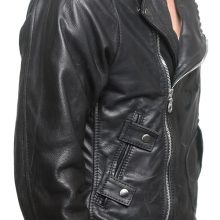 Men Fashion Cowhide Black Leather Motorcycle Slim fit Biker Bomber Jacket