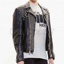 New Mens UK Flag Punk Vintage Full Silver Spiked Studded Brando Leather Jacket