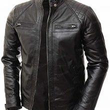 New Handmade Mens Black Abbraci Lambskin Motorcycle Leather Jacket
