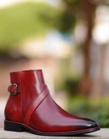 Genuine Leather Maroon Red Single Buckle Strap Jodhpur High Ankle Men Boots