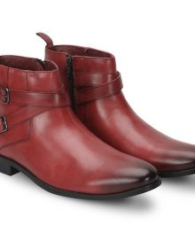 Genuine Leather Maroon Double Rounded Buckle Straps Jodhpur High Ankle Men Boots