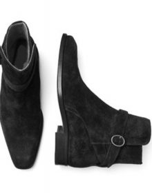 Black Suede Leather Single Rounded Buckle Strap Jodhpur High Ankle Men Boots