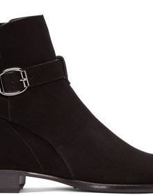 Black Suede Leather Jodhpurs Rounded Buckle Strap Handcrafted High Ankle Boots