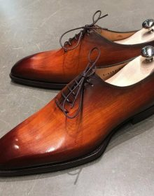Men's Oxford Cognac Patina Whole Cut Premium Quality Lace up Leather Shoes
