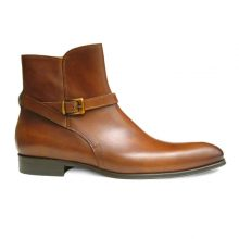 New Handmade Men Genuine Leather Brown Single Rounded Buckle Strap Jodhpur High Ankle Men Boots