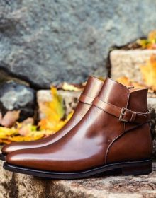 Brown Color Rounded Buckle Strap Jodhpur High Ankle Superior Leather Men Boots