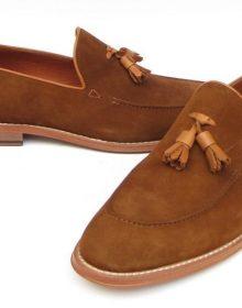 Brown Color Genuine Leather Apron Toe Men Tassel Loafer Slip Ons Tan Sole Shoes