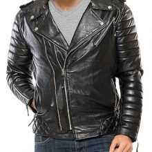 New Handmade Mens Black Padded Motorcycle Leather Jacket