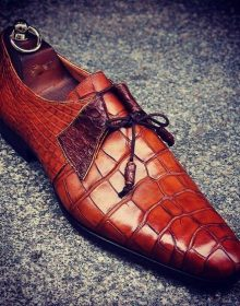 NEW Men's Handmade Leather Shoes, Formal Crocodile Texture Leather Men Brown Sho