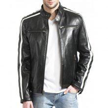 New Handmade Men's White Striped Black Cafe Racer Leather Jacket