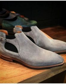 New Handmade Men's Half Ankle Boot, Men's Gray Suede Chelsea Buckle Fashion Boo