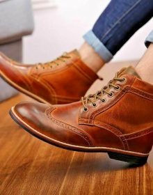 Handmade Men's Tan Ankle Wingtip Formal Casual Marching Military Boots