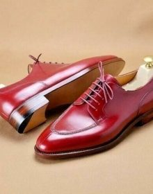Men's Red Maroon Oxford Lace Up Formal Party Dress Real Leather Handmade Shoes