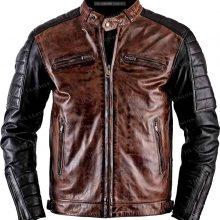 New Handmade Mens Brown Vintage Cafe Racer Sheepskin Leather Jacket