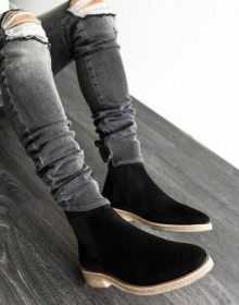 New Handmade Mens Black Suede ankle boots, Men casual Black crepe sole Chelsea