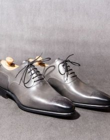 New Handmade men gray Leather dress shoes, men formal shoes, leather shoes