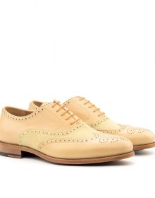 New Men's Handmade Fawn Correspondent Wingtips for Men Custom Made Brogues
