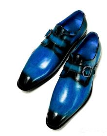 Two Tone Blue Black Monk Patina Single Buckle Derby Men Real Leather Dress Shoes