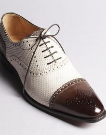 New Handmade Men's In White and Brown Color Brogue Handmade Leather Dress Shoe