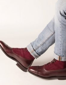 NEW Handmade Burgundy Brown Boot, Lace Up Boot, Leather Suede Cap Toe Boot