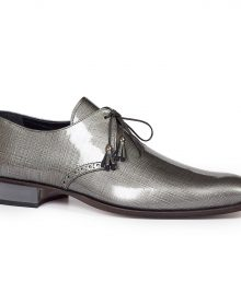 New Handmade Men's Grey Canapa Patent Grey Leather Shoes