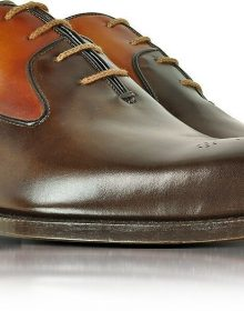 Men's Hand Made Two Color Brogues Toe Oxford Genuine Leather Shoes
