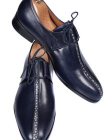Handmade Navy Blue Stingray Men Shoes