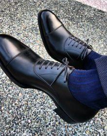 New Men's Simple Black Cap Toe Shoes, Men's Leather Lace Up Formal Shoes