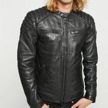 New Handmade Mens Paddes Shoulder Distressed Black Leather Jacket