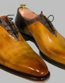 Handmade Vintage Style Wooden Color Real Leather Oxford Shoes For Men