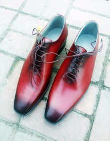 Maroon Oxford Vintage Leather Burnished Toe Lace Up Handmade Men's Formal Shoes