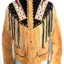 Men Western wear Brown Suede Leather Jacket Fringe Eagle Beads Patches Bones