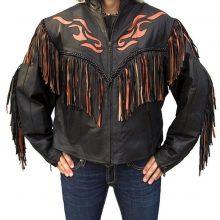 New Handmade Women's Western Black Orange Flame Fringe Leather Jacket